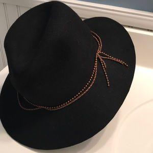 D&Y Black Wool  Boho Festival Hat w/ Beading